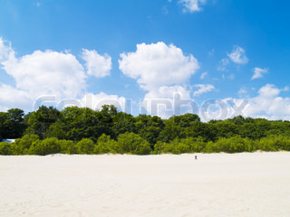 sea coast with white sand, Baltic, Sopot, Poland