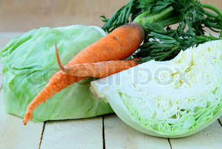 green cabbage and carrot, salad ingredients