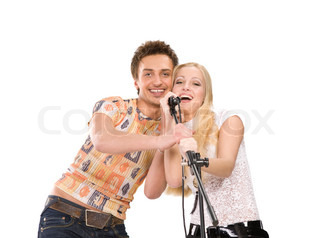 Attractive young couple singing,  isolated on white