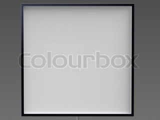 3d illustration of empty black frame isolated with the white board