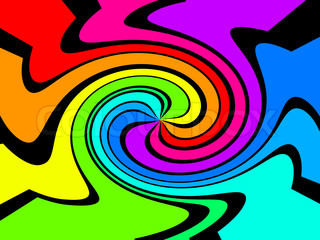 illustration of a swirl of colors on black background