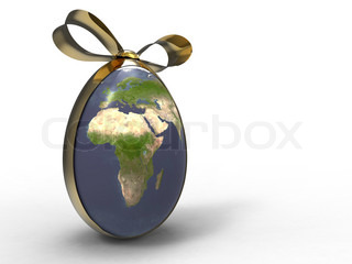 3d illustration of the earth egg shape with a golden ribbon