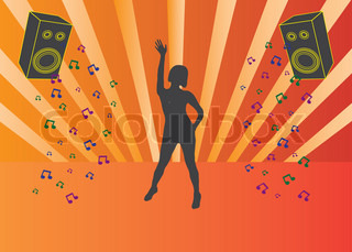 Black silhouette of dancing girl at disco with lights at the background