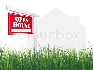 Real Estate Sign – Open House on white background with grass. 2D artwork. Computer Design.
