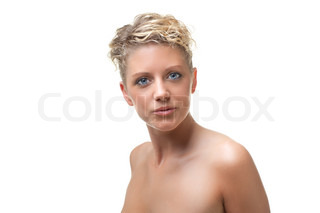 Young beautiful naked woman, isolated on white backround