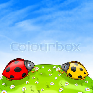 Ladybird With Ox-Eye Daisy. 2D Graphics, Computer Design