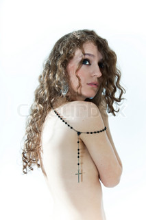 Nude curly long-haired woman on a white background