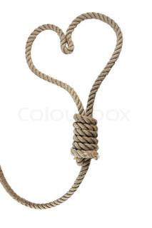 rope noose in the shape of heart, design element