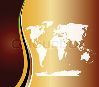 Orange Layout with World map Vector illustration clip art