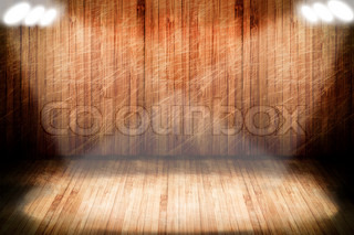 a high resolution creative wooden stage with lights