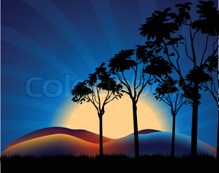 Sunset Vector Landscape