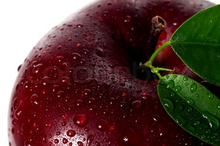 a water drops on red apple