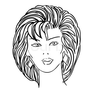 Hand-drawn fashion model. Vector illustration. Woman's face