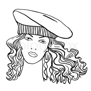 Hand-drawn fashion model. Vector illustration. Woman's face a hat