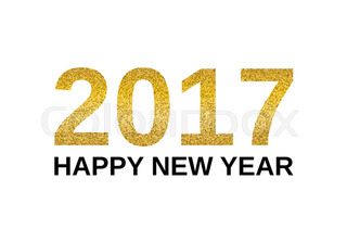 Happy New Year 2018 With Golden Glitter Effect Isolated On White