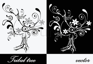 Collection of two decorative trees with flowers
