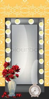 NIce actress mirror on yellow background with floral vase and clasick clock