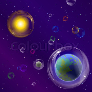 Abstract vector background, space: planet mother Earth, moon, sun and stars in transparent bubbles