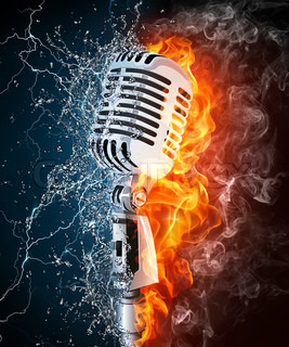 Old Microphone on Fire and Water. Computer Graphics.