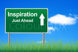 Inspiration road sign on sky background, grass underneath