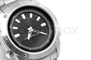 Man's watch close up. Black and white photography.