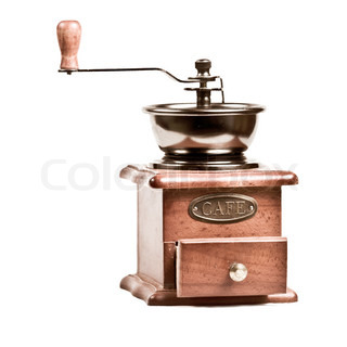 a vintage photo of coffee mill isolated on white