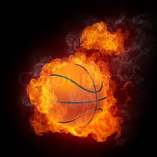 Basketball Ball on Fire. 2D Graphics. Computer Design.