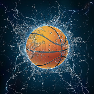 Basketball Ball on Water. 2D Graphics. Computer Design.