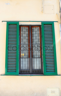 Typical Italian Window With Open Wooden Shutters