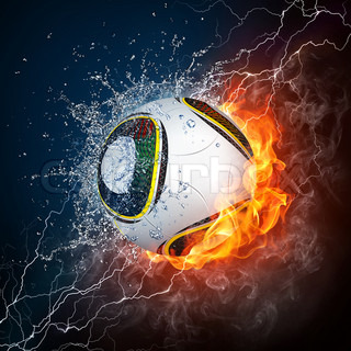 Soccer Ball On Fire And Water 2d Graphics Computer