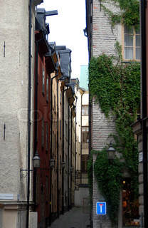 Old cozy street in the center of Stockholm Sweden.