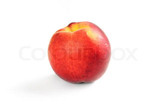 Single fresh ripe peach isolated on white