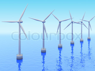 Many Windmills on sea. Renewable energy industry 3d concept