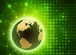 abstract and futuristic illustration of a 3d earth on glowing background