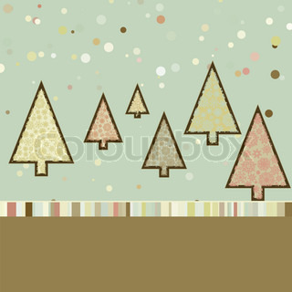 Retro Christmas card with cute trees. EPS 8 vector file included