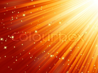 Snowflakes and stars descending on red background. EPS 8 vector file included