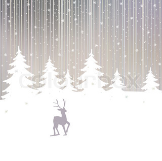 Vector christmas background with deer and winter tree