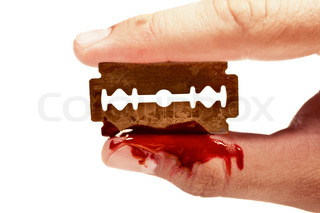 fingers keep the old rusty razor with blood on a white background