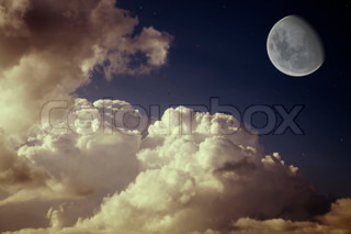 moon and stars in the night blue sky with beautiful clouds