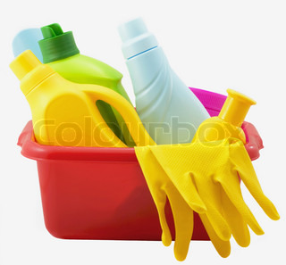 Banks, bottles with washing-up liquids, gloves isolated