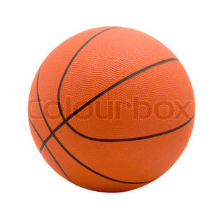 Ball for game in basketball of orange on white background