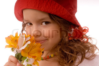 portrait of girl with orange flowers