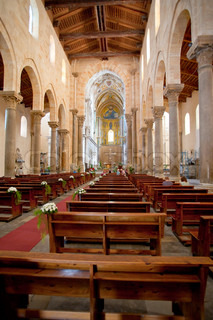 interior of the medieval Cathedral in Cefalu, Sicily, Italy