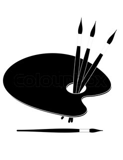 Palette and  paint brushes - symbol of art and painting (allegory) - cartoon illustration  isolated on white background