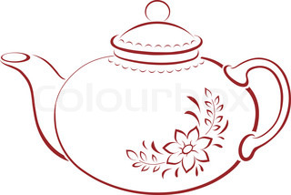 China teapot with a pattern from a flower and leaves, pictogram