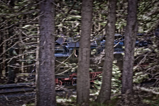 Steam engine on its way through Harz woodland from Brocken in Germany.