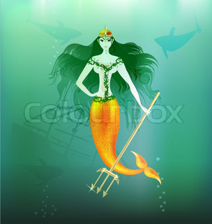 in the depths of the sea is a beautiful mermaid with a gold trident in her hand