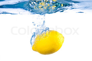Lemon under water. Close up. Macro shot.