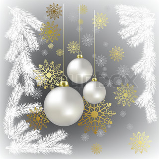 Christmas balls and gold snowflakes on a grey background