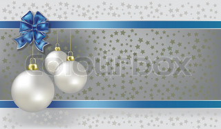 Christmas balls and stars silver vector background